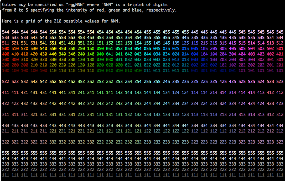 ack RGB color chart